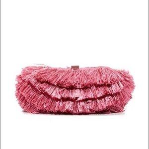SANTI Hot Pink Raffia Clutch
